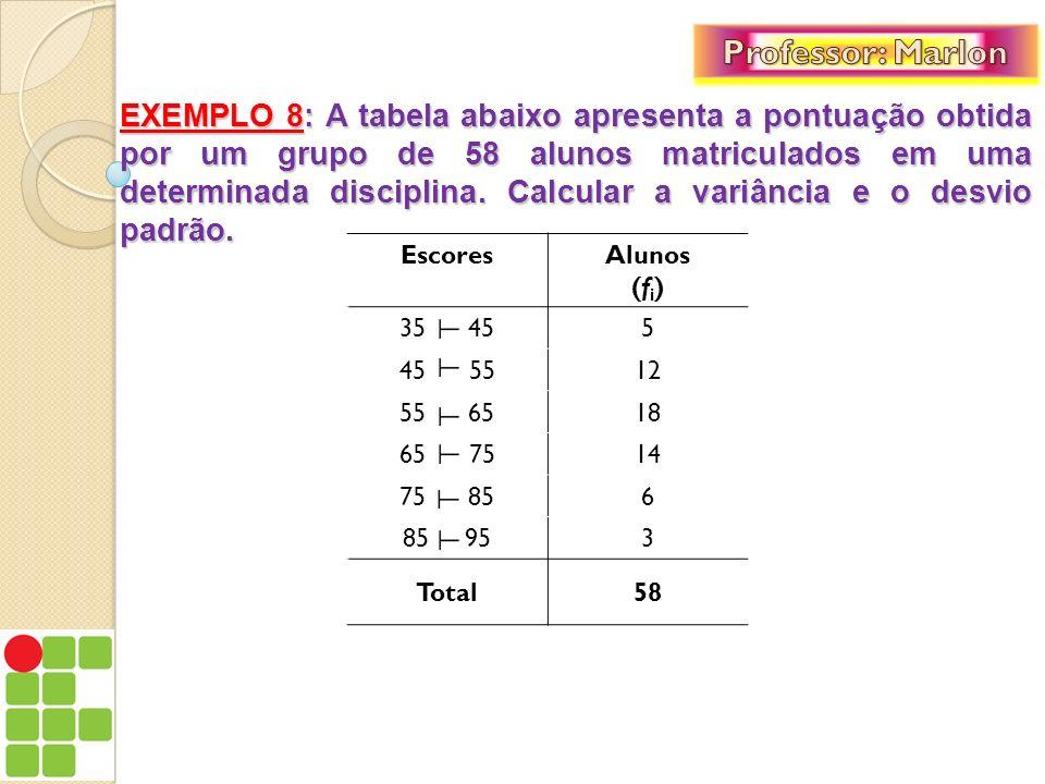 EXEMPLO 8: A tabela abaixo apresenta a pontuação obtida por um grupo de 58 alunos matriculados em uma determinada disciplina. Calcular a variância e o