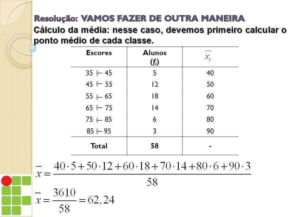 EscoresAlunos (f i ) 35 45540 45 551250 55 651860 65 751470 75 85680 85 95390 Total58- Cálculo da média: nesse caso, devemos primeiro calcular o ponto