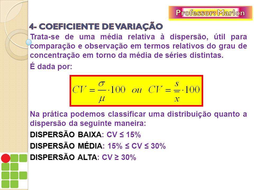 Trata-se de uma média relativa à dispersão, útil para comparação e observação em termos relativos do grau de concentração em torno da média de séries