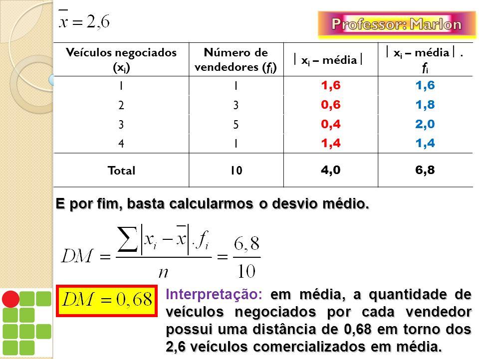 Para o cálculo do desvio médio com dados agrupados em intervalos de classe, devemos levar em conta que cada valor da variável (x i ) aparece representado sob a forma de um intervalo de classe, e este intervalo está associado a uma frequência (f i ), e nesse caso, devemos lembrar: 1.
