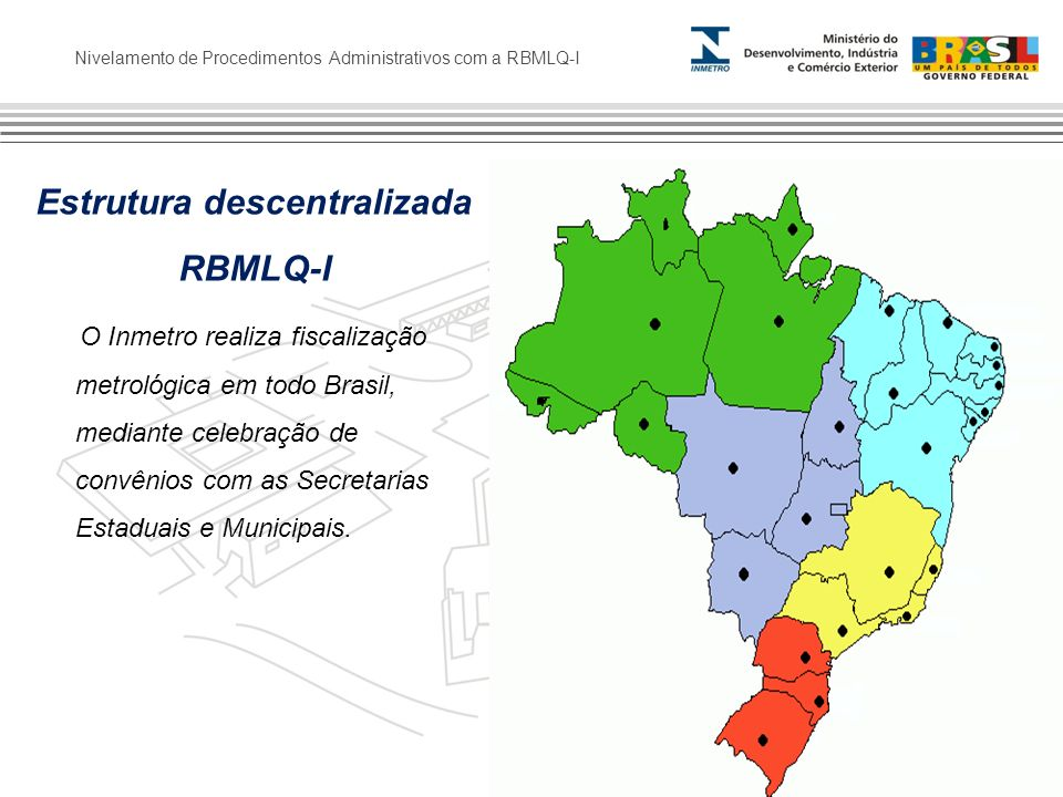 Nivelamento de Procedimentos Administrativos com a RBMLQ-I Estrutura descentralizada RBMLQ-I O Inmetro realiza fiscalização metrológica em todo Brasil