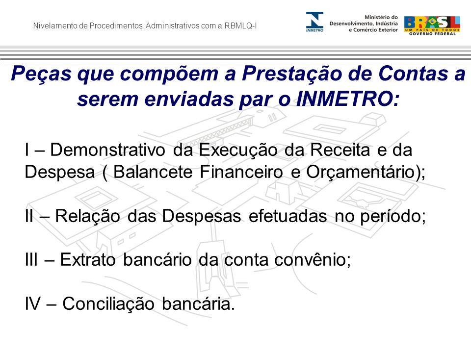 Nivelamento de Procedimentos Administrativos com a RBMLQ-I Peças que compõem a Prestação de Contas a serem enviadas par o INMETRO: I – Demonstrativo d