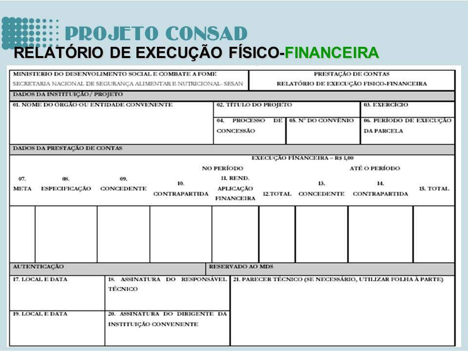 RELATÓRIO DE EXECUÇÃO FÍSICO-FINANCEIRA