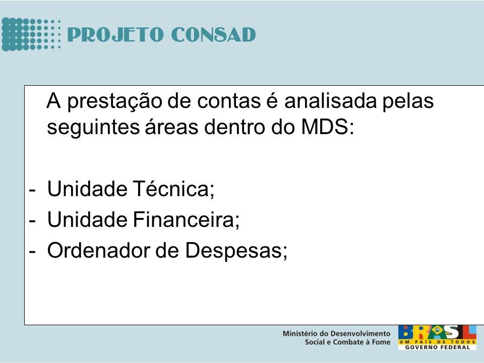 A prestação de contas é analisada pelas seguintes áreas dentro do MDS: -Unidade Técnica; -Unidade Financeira; -Ordenador de Despesas;
