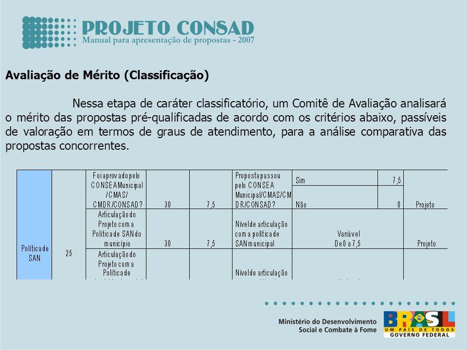 Avaliação de Mérito (Classificação) Nessa etapa de caráter classificatório, um Comitê de Avaliação analisará o mérito das propostas pré-qualificadas d