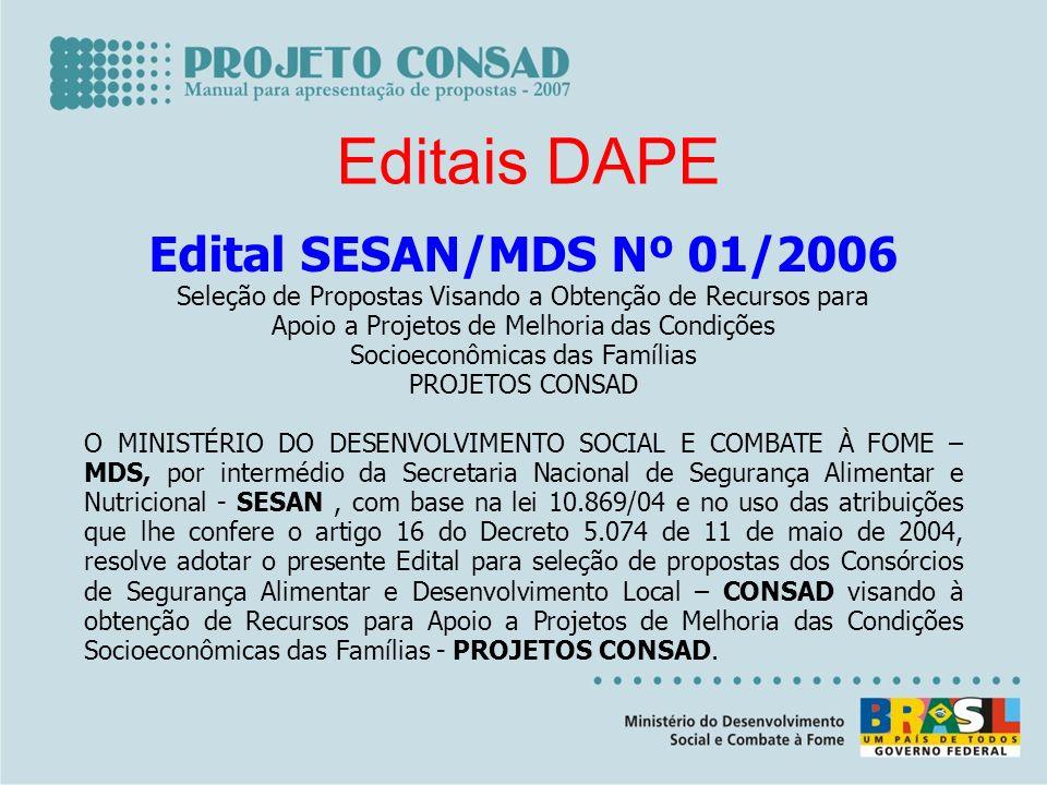 Editais DAPE Edital SESAN/MDS Nº 01/2006 Seleção de Propostas Visando a Obtenção de Recursos para Apoio a Projetos de Melhoria das Condições Socioecon