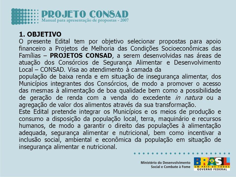 1. OBJETIVO O presente Edital tem por objetivo selecionar propostas para apoio financeiro a Projetos de Melhoria das Condições Socioeconômicas das Fam