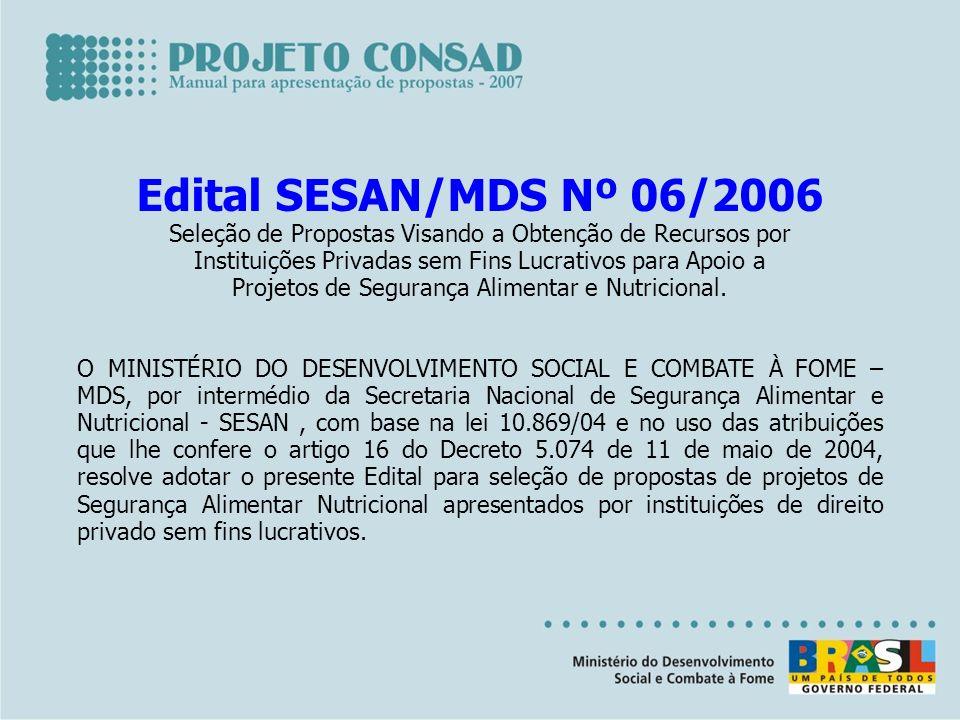 Edital SESAN/MDS Nº 06/2006 Seleção de Propostas Visando a Obtenção de Recursos por Instituições Privadas sem Fins Lucrativos para Apoio a Projetos de