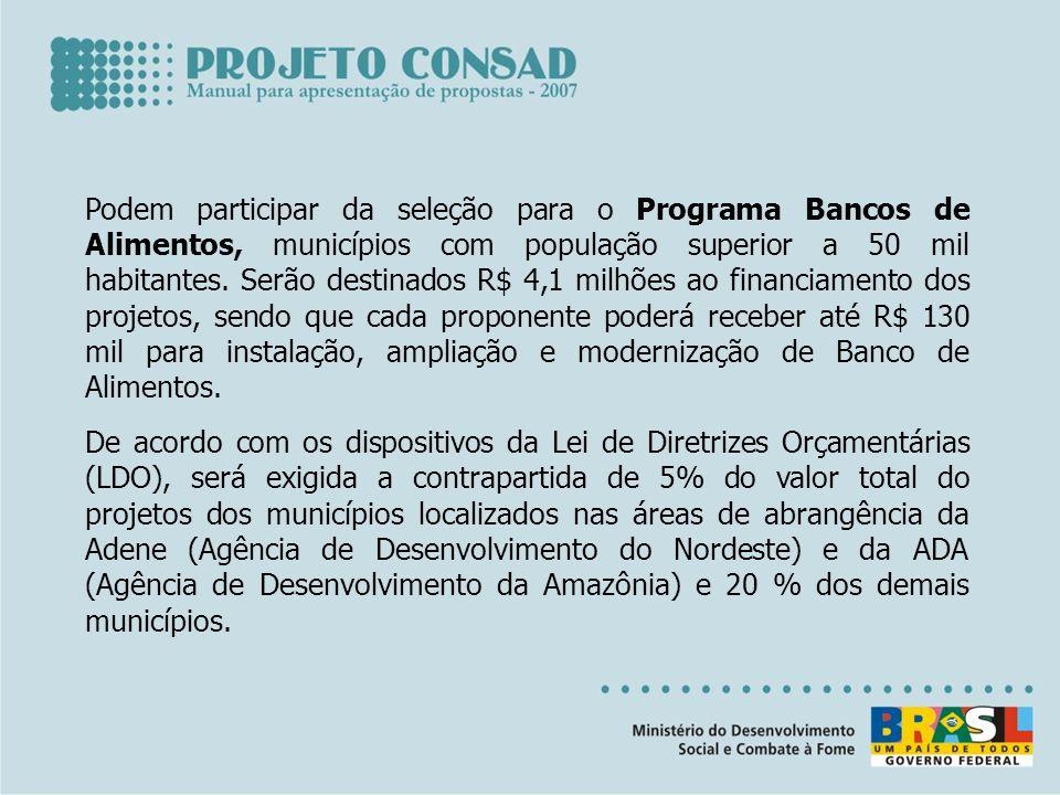 Podem participar da seleção para o Programa Bancos de Alimentos, municípios com população superior a 50 mil habitantes. Serão destinados R$ 4,1 milhõe