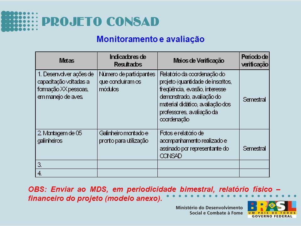 OBS: Enviar ao MDS, em periodicidade bimestral, relatório físico – financeiro do projeto (modelo anexo). Monitoramento e avaliação