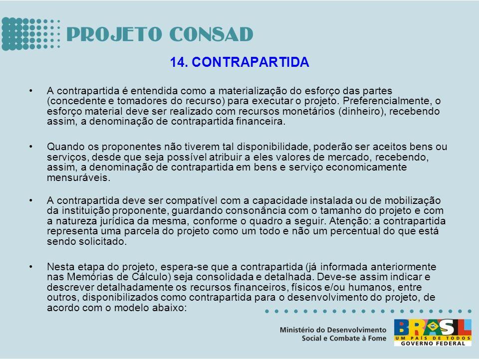 A contrapartida é entendida como a materialização do esforço das partes (concedente e tomadores do recurso) para executar o projeto. Preferencialmente