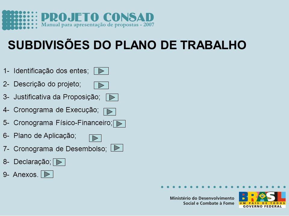 SUBDIVISÕES DO PLANO DE TRABALHO 1- Identificação dos entes; 2- Descrição do projeto; 3- Justificativa da Proposição; 4- Cronograma de Execução; 5- Cr