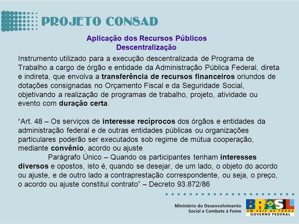 Instrumento utilizado para a execução descentralizada de Programa de Trabalho a cargo de órgão e entidade da Administração Pública Federal, direta e i