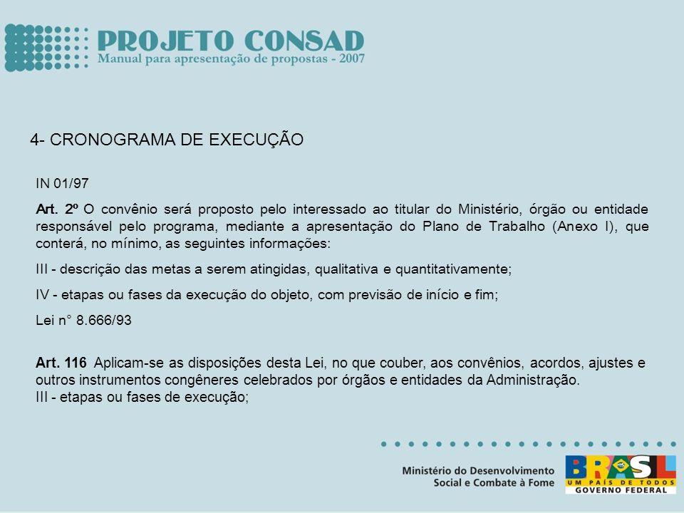 4- CRONOGRAMA DE EXECUÇÃO IN 01/97 Art. 2º O convênio será proposto pelo interessado ao titular do Ministério, órgão ou entidade responsável pelo prog