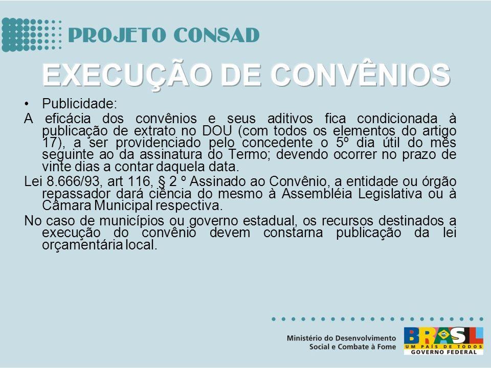 Publicidade: A eficácia dos convênios e seus aditivos fica condicionada à publicação de extrato no DOU (com todos os elementos do artigo 17), a ser pr