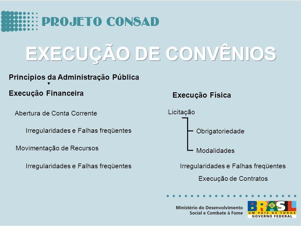 Execução Financeira Licitação Obrigatoriedade Modalidades Princípios da Administração Pública Abertura de Conta Corrente Movimentação de Recursos Exec