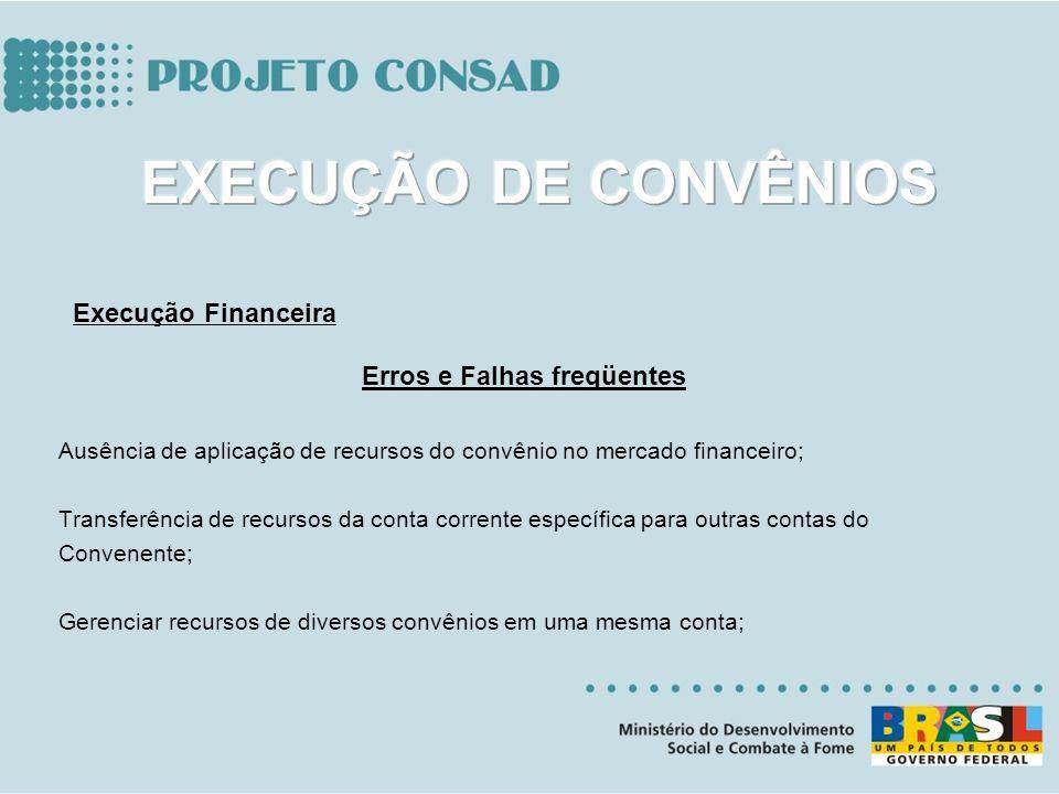 Erros e Falhas freqüentes Ausência de aplicação de recursos do convênio no mercado financeiro; Transferência de recursos da conta corrente específica