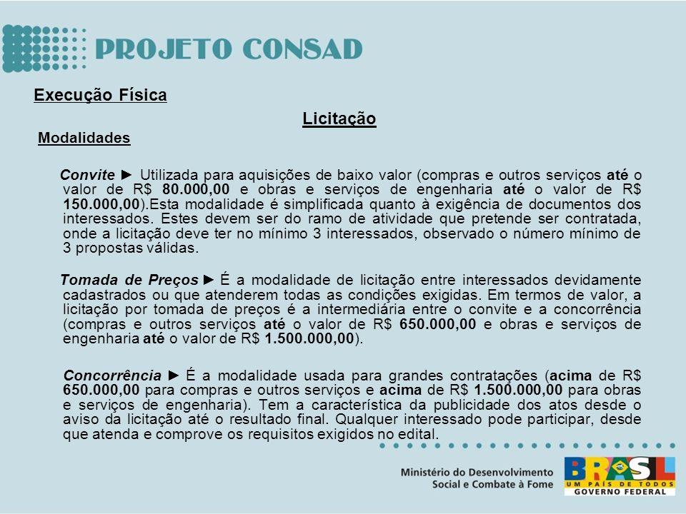 Licitação Modalidades Convite Utilizada para aquisições de baixo valor (compras e outros serviços até o valor de R$ 80.000,00 e obras e serviços de en