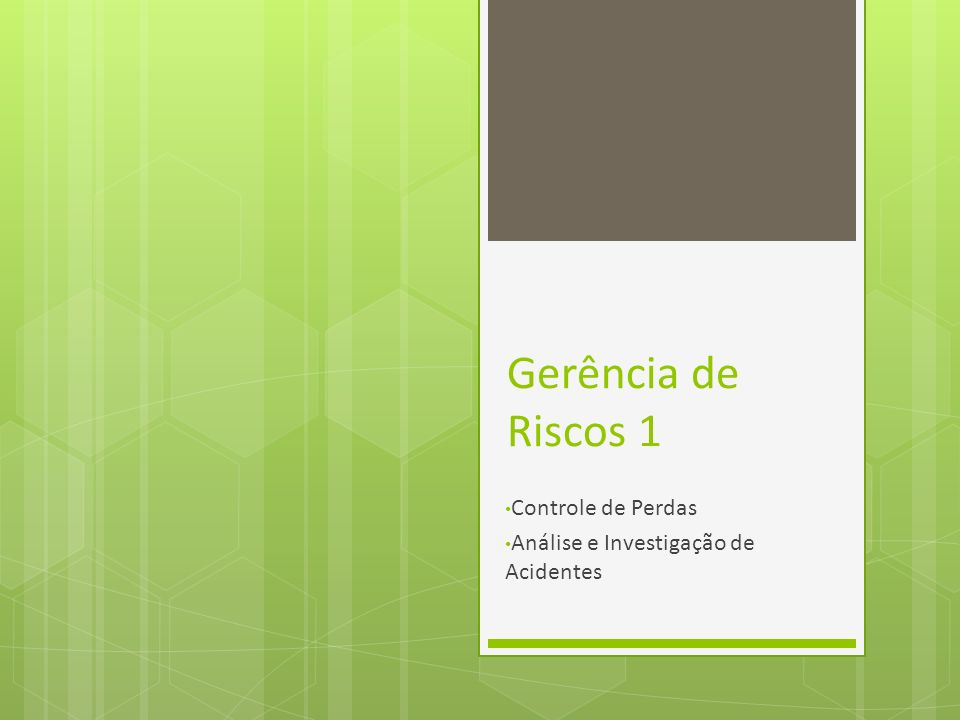 Gerência de Riscos 1 Controle de Perdas Análise e Investigação de Acidentes