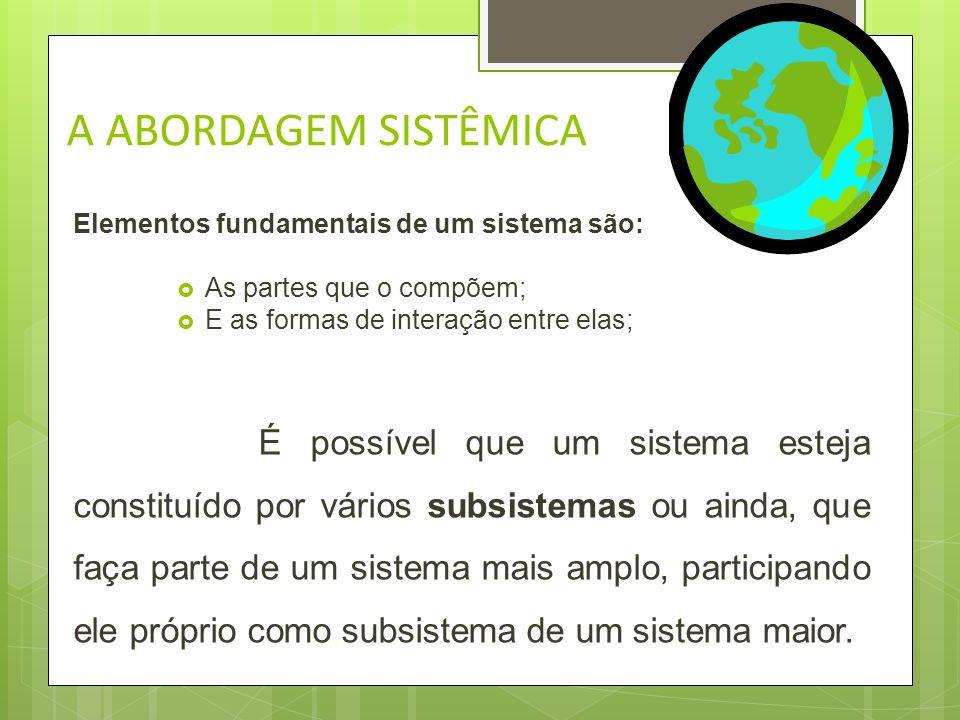 A ABORDAGEM SISTÊMICA Qualquer organização é um sistema composto de partes, cada uma com metas próprias. Para alcançar as metas globais, deve-se: o Vi
