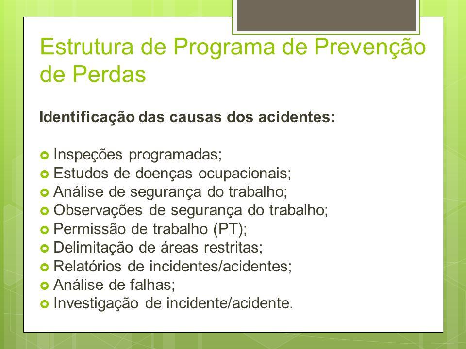 Estrutura de Programa de Prevenção de Perdas Identificação das causas dos acidentes; Controle das causas dos acidentes; Redução de perdas por acidente
