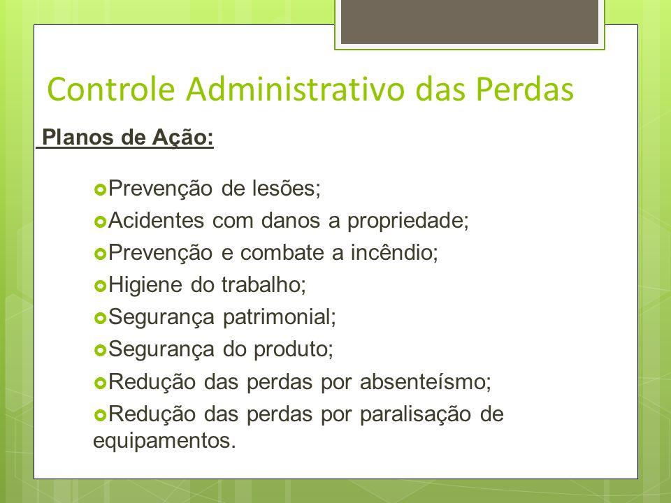 Controle Administrativo das Perdas Consiste em adotar planos de ação de prevenção e controle, enquanto o acidente for gerador de perdas. Cada plano de