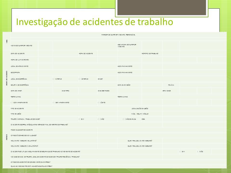 Investigação de Acidentes de Trabalho SESMT INVESTIGAÇÃO DE ACIDENTES DO TRABALHO DADOS DO ACIDENTADO NOME APELIDO ESTADO CIVIL IDADE SEXO ENDEREÇO BA
