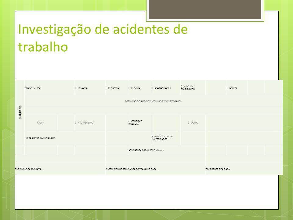 Investigação de acidentes de trabalho CHEFIA PARECER DO SUPERIOR IMEDIATO / RESPONSÁVEL NOME DO SUPERIOR IMEDIATO ASSINATURA DO SUPERIOR IMEDIATO DADO