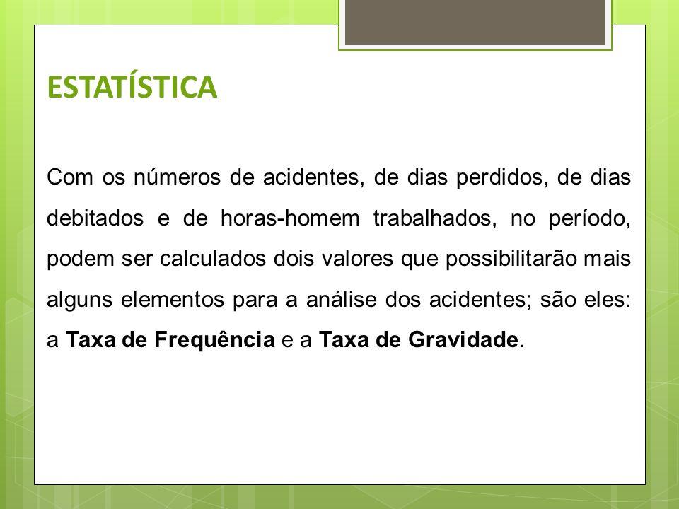 ESTATÍSTICA Deverão constar os seguintes dados: Número de empregados; Numero de acidentes, com perda de tempo, ocorridos no mês; Numero de dias perdid