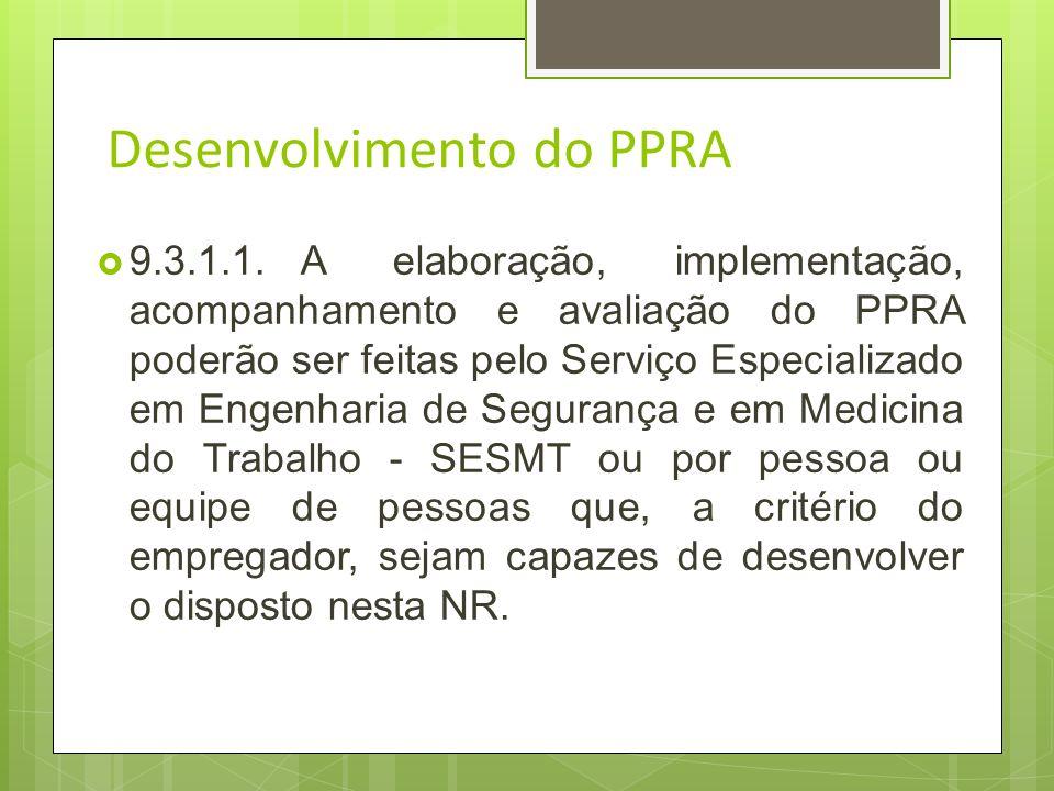 Desenvolvimento do PPRA 9.3.1.O Programa de Prevenção de Riscos Ambientais deverá incluir as seguintes etapas: a)antecipação e reconhecimentos dos ris