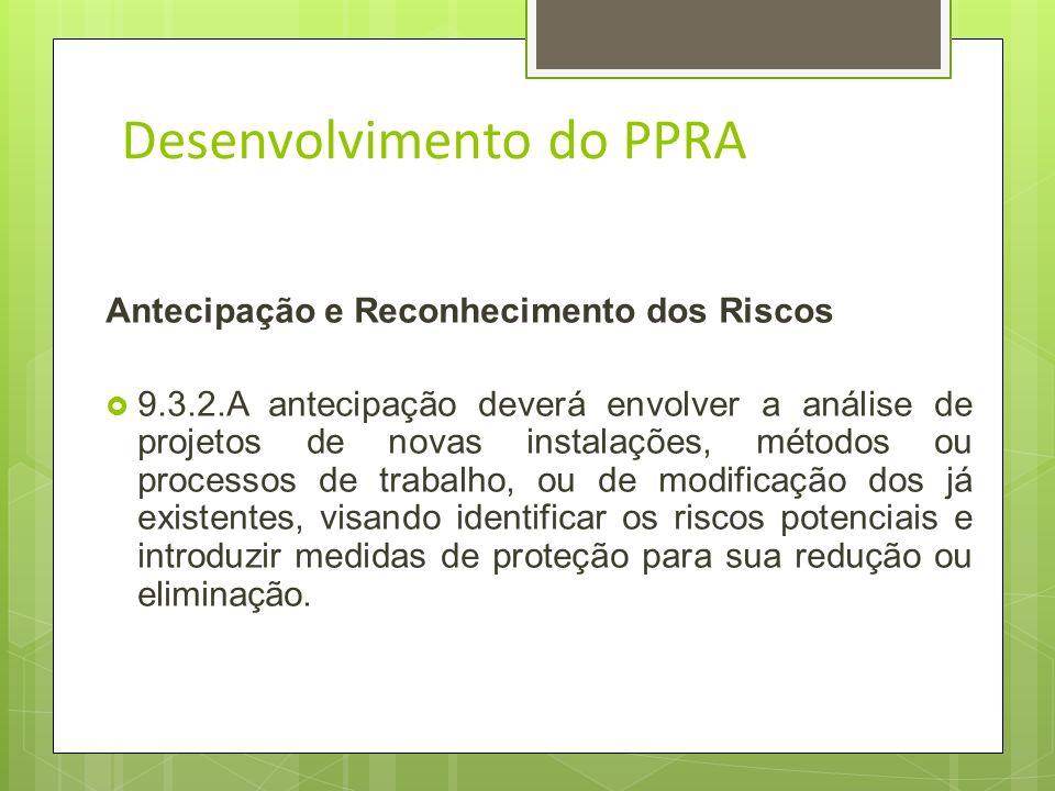 Desenvolvimento do PPRA 9.3.1.1.A elaboração, implementação, acompanhamento e avaliação do PPRA poderão ser feitas pelo Serviço Especializado em Engen