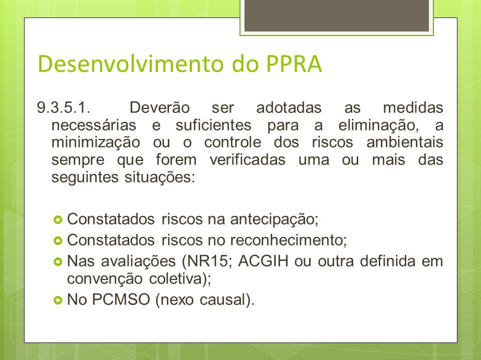 Desenvolvimento do PPRA 9.3.4.A avaliação quantitativa deverá ser realizada sempre que necessária para: a)comprovar o controle da exposição ou a inexi