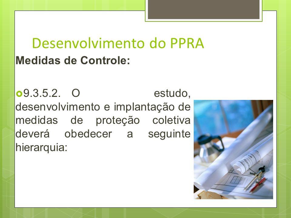 Desenvolvimento do PPRA 9.3.5.1.Deverão ser adotadas as medidas necessárias e suficientes para a eliminação, a minimização ou o controle dos riscos am