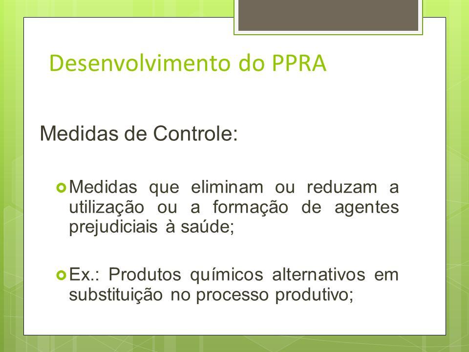 Desenvolvimento do PPRA Medidas de Controle: 9.3.5.2.O estudo, desenvolvimento e implantação de medidas de proteção coletiva deverá obedecer a seguint