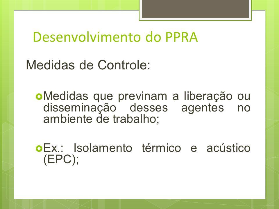 Desenvolvimento do PPRA Medidas de Controle: Medidas que eliminam ou reduzam a utilização ou a formação de agentes prejudiciais à saúde; Ex.: Produtos
