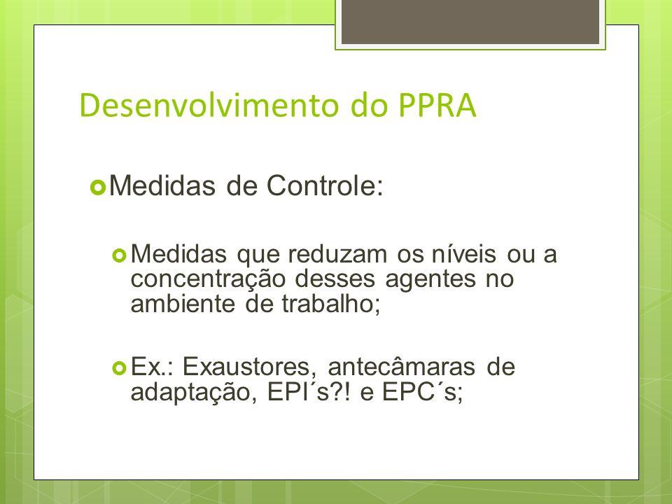 Desenvolvimento do PPRA Medidas de Controle: Medidas que previnam a liberação ou disseminação desses agentes no ambiente de trabalho; Ex.: Isolamento