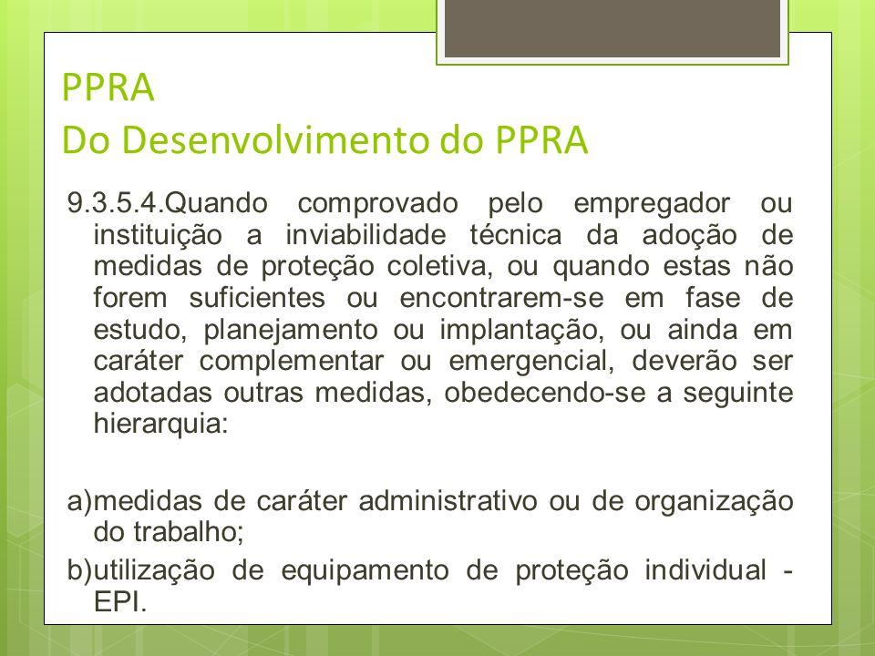 Desenvolvimento do PPRA 9.3.5.3.A implantação de medidas de caráter coletivo deverá ser acompanhada de treinamento dos trabalhadores quanto aos proced