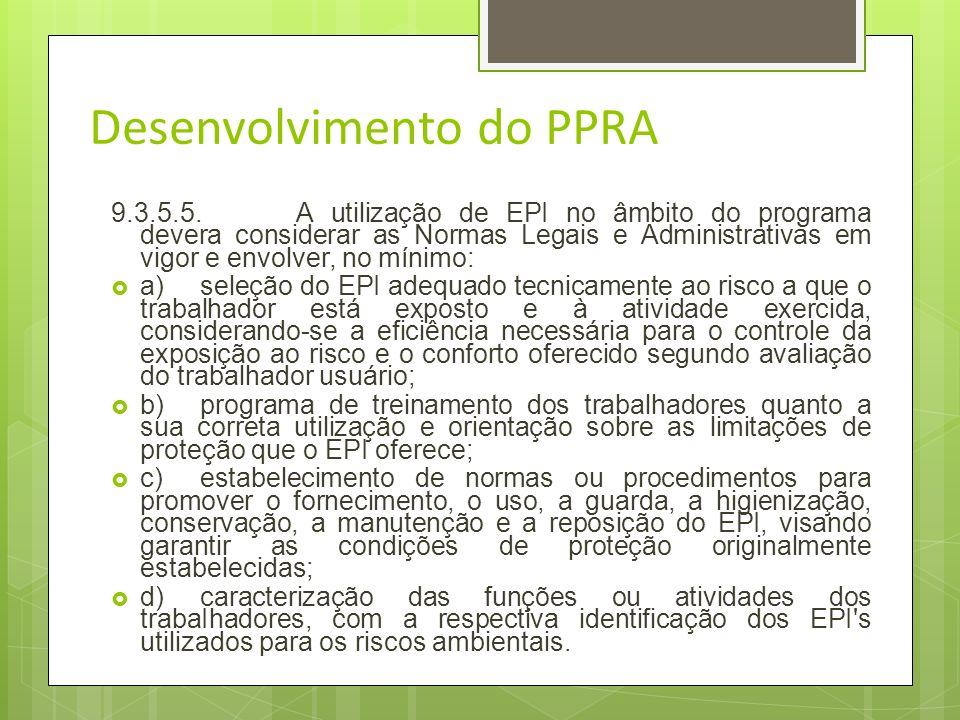 PPRA Do Desenvolvimento do PPRA 9.3.5.4.Quando comprovado pelo empregador ou instituição a inviabilidade técnica da adoção de medidas de proteção cole