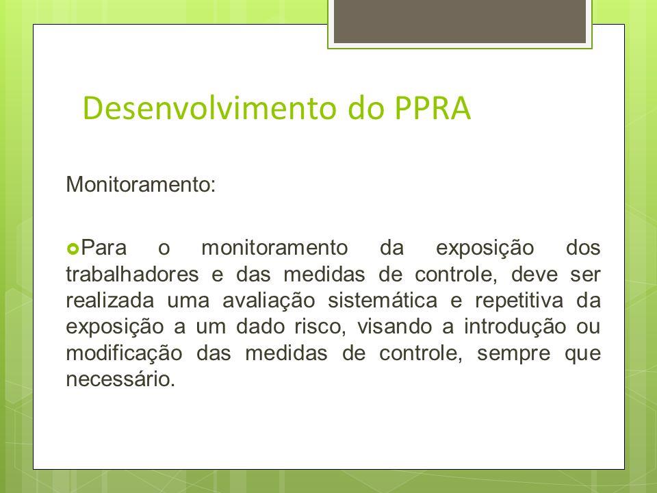 Desenvolvimento do PPRA Nível de Ação: 9.3.6.1.Para os fins desta NR considera-se nível de ação o valor acima do qual devem ser iniciadas ações preven