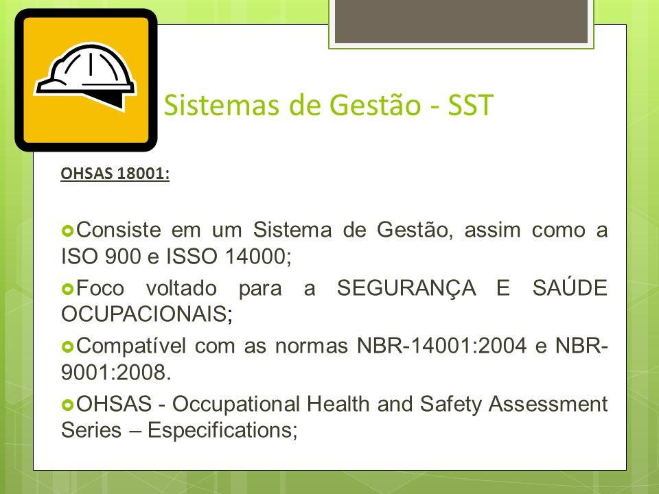 Sistemas de Gestão - SST BS8800: Apresenta diretrizes e orientações para o desenvolvimento de um sistema de gestão da SSO, eficaz que permita proteger