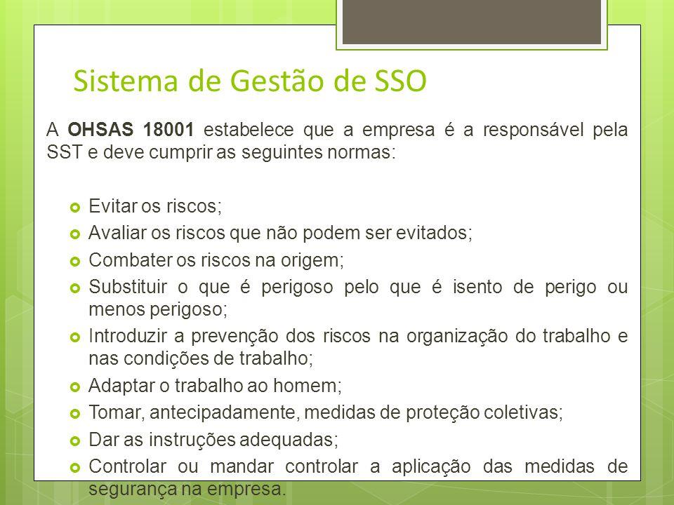 Sistemas de Gestão - SST OHSAS 18001: Foco voltado para a segurança e saúde ocupacionais; É uma ferramenta que permite uma empresa atingir e sistemati