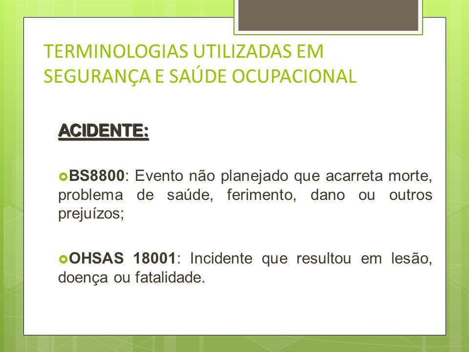 TERMINOLOGIAS UTILIZADAS EM SEGURANÇA E SAÚDE OCUPACIONAL INCIDENTE: BS8800: Evento não previsto que tem o potencial de conduzir a acidentes; OHSAS180