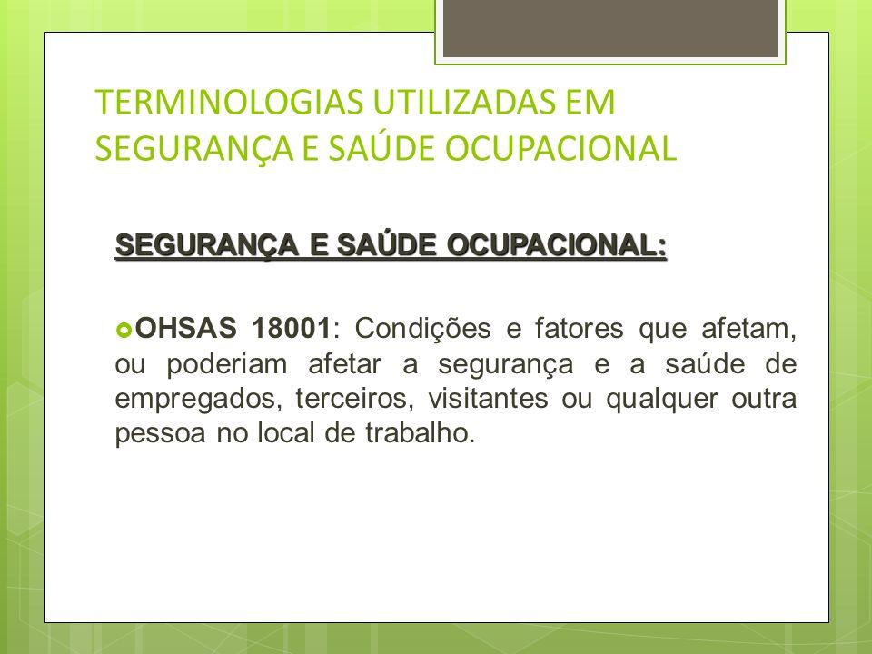 TERMINOLOGIAS UTILIZADAS EM SEGURANÇA E SAÚDE OCUPACIONAL NÃO CONFORMIDADE NÃO CONFORMIDADE: OHSAS 18001: Não atendimento a um requisito.