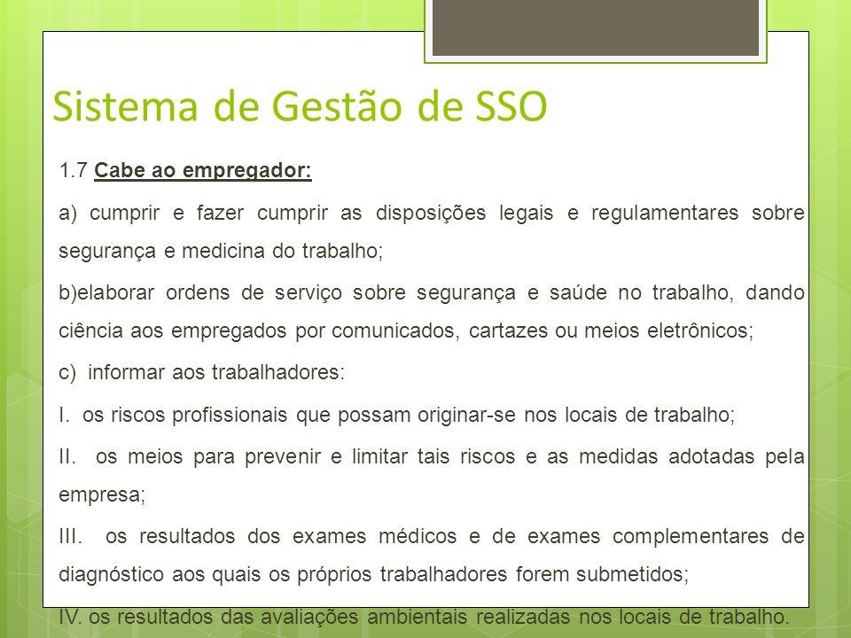 Sistema de Gestão de SSO A não-conformidade deve ser identificada, registrada e analisada para produzir: Ações reativas; Corretivas; Preventivas. Visa