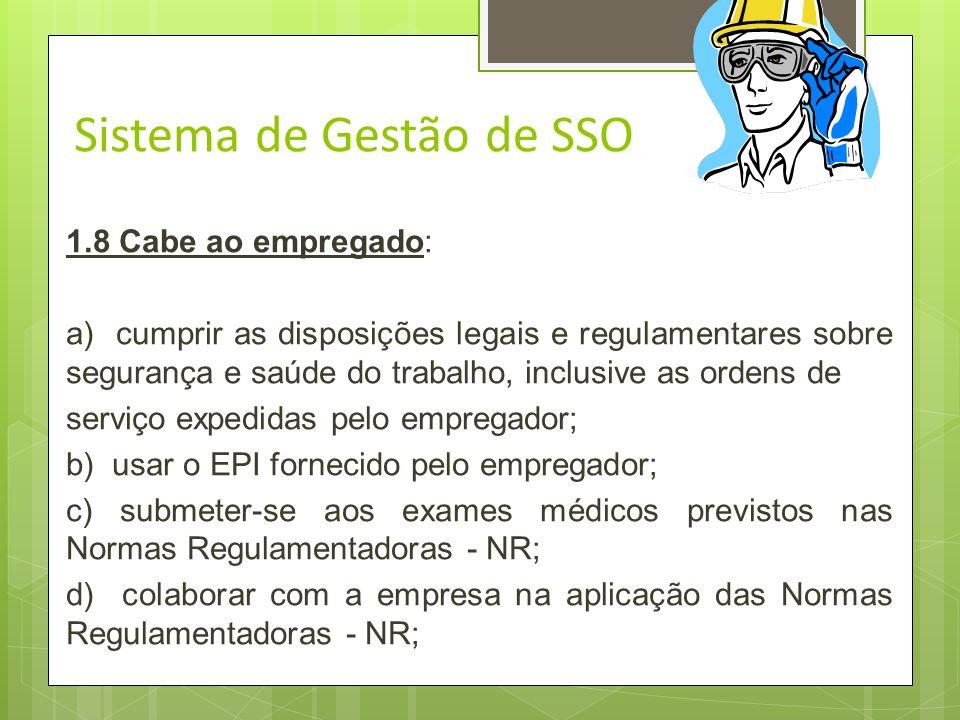 Sistema de Gestão de SSO 1.7 Cabe ao empregador: d) permitir que representantes dos trabalhadores acompanhem a fiscalização dos preceitos legais e reg