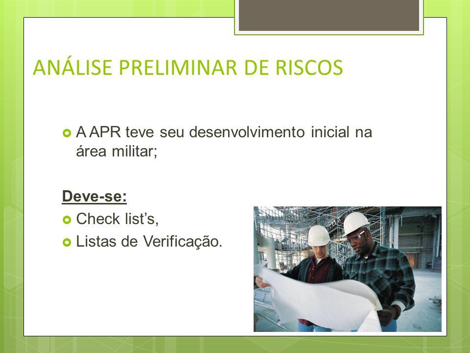 ANÁLISE PRELIMINAR DE RISCOS Utilizada portanto para uma análise inicial, prévia,