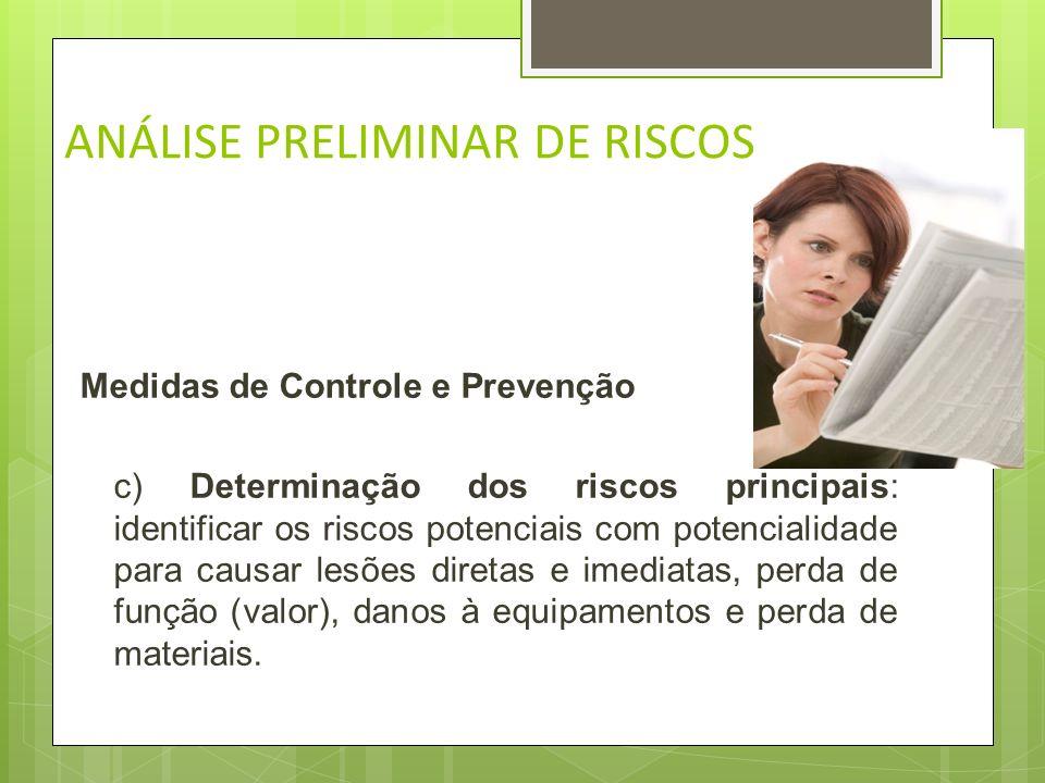 ANÁLISE PRELIMINAR DE RISCOS Medidas de Controle e Prevenção b) Revisão da missão a que se destina: atentar para os objetivos, exigências de desempenh