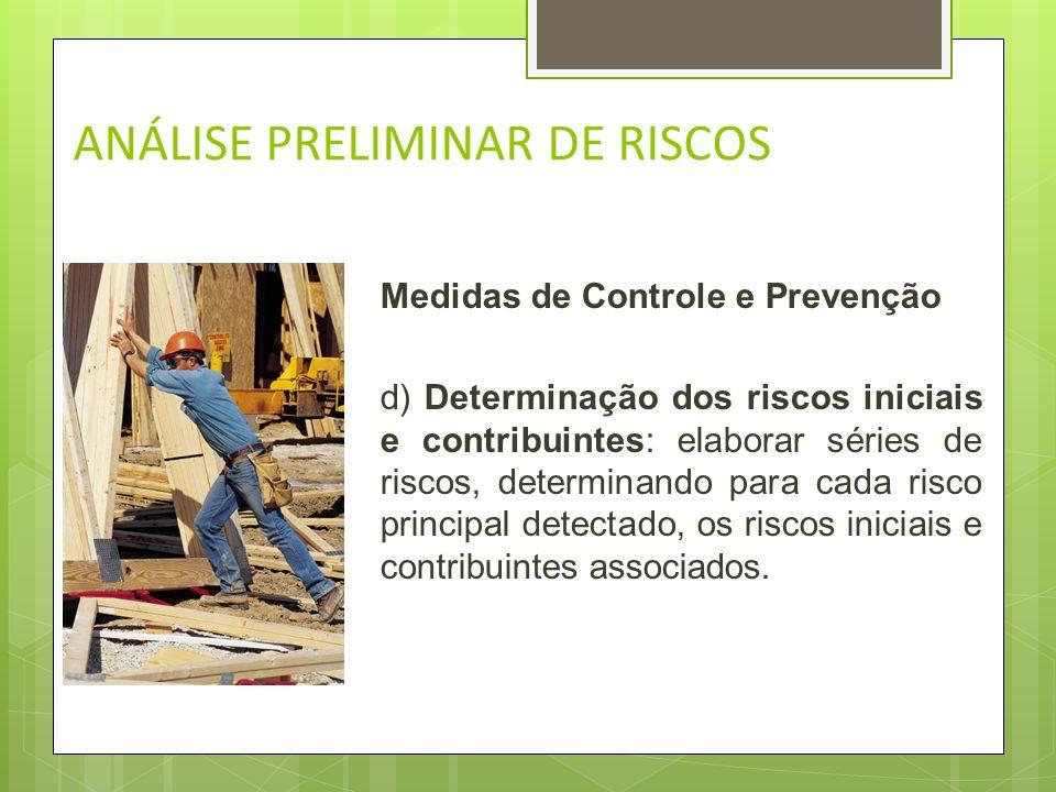 ANÁLISE PRELIMINAR DE RISCOS Medidas de Controle e Prevenção c) Determinação dos riscos principais: identificar os riscos potenciais com potencialidad