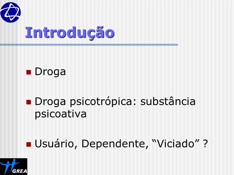 Introdução Droga Droga psicotrópica: substância psicoativa Usuário, Dependente, Viciado ?