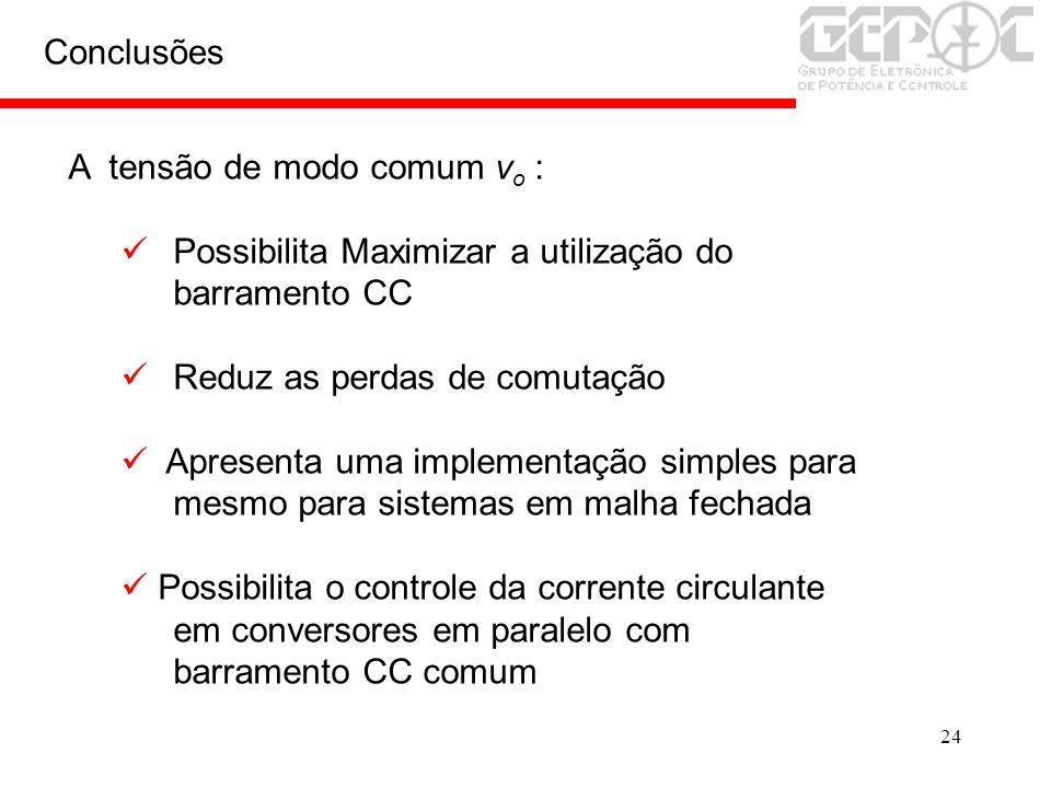 24 Conclusões A tensão de modo comum v o : Possibilita Maximizar a utilização do barramento CC Reduz as perdas de comutação Apresenta uma implementaçã